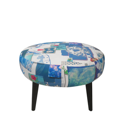 Meringue Footstool in Follete Bleu De Roi