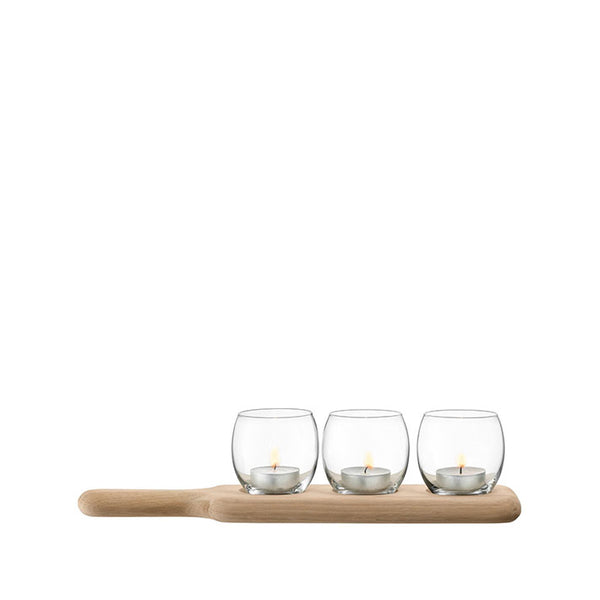 LSA International Paddle Tealight Holder Set & Oak Base