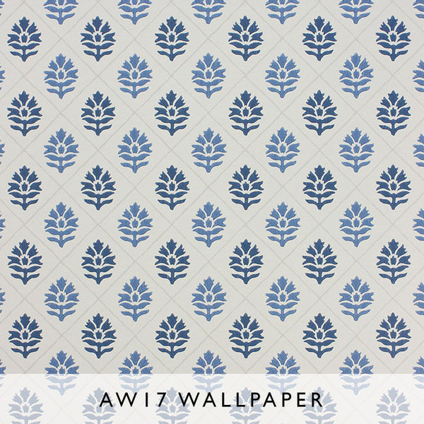 Nina Campbell Wallpaper Camille in Navy Blue from Les Reves Collection Janine Kuala Lumpur Malaysia