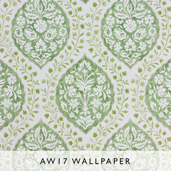 Nina Campbell Wallpaper Marguerite in Moss Green from Les Reves AW17 collection Janine Kuala Lumpur