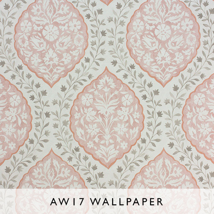 Nina Campbell Wallpaper Marguerite in Salmon from Les Reves AW17 collection Janine Kuala Lumpur
