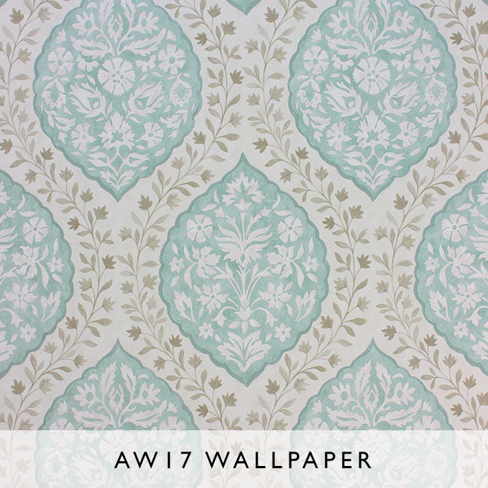 Nina Campbell Wallpaper Marguerite in Turquoise from Les Reves AW17 collection Janine Kuala Lumpur