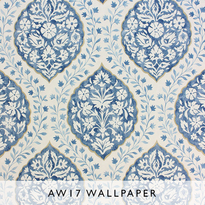 Nina Campbell Wallpaper Marguerite in Blue from Les Reves AW17 collection Janine Kuala Lumpur