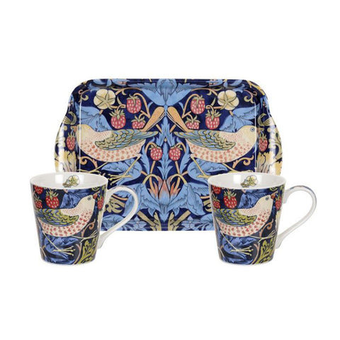 Morris and Co for Pimpernel Strawberry Thief Blue Mug and Tray Set