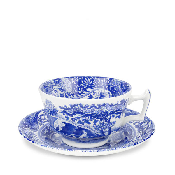 Blue Italian Teacup & Saucer Set