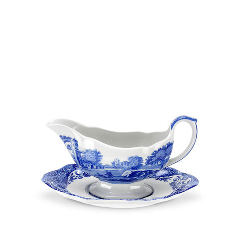 Blue Italian Sauce Boat & Stand