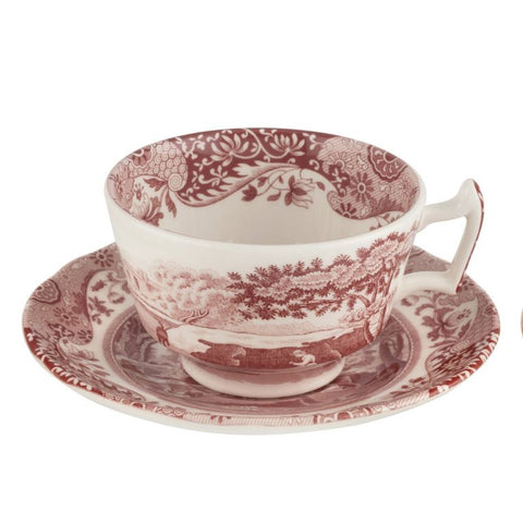 Spode Cranberry Italian Tea Cup and Saucer