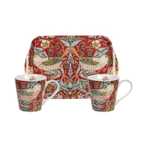 Morris and Co for Pimpernel Strawberry Thief Red Mug and Tray Set
