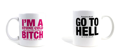 Imaginary Road Trips Fake-Cation Mug Set - Bitch/Hell