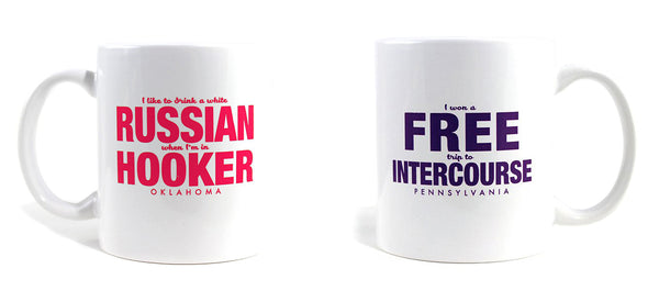 Imaginary Road Trips Fake-Cation Mug Set - Hooker/Intercourse