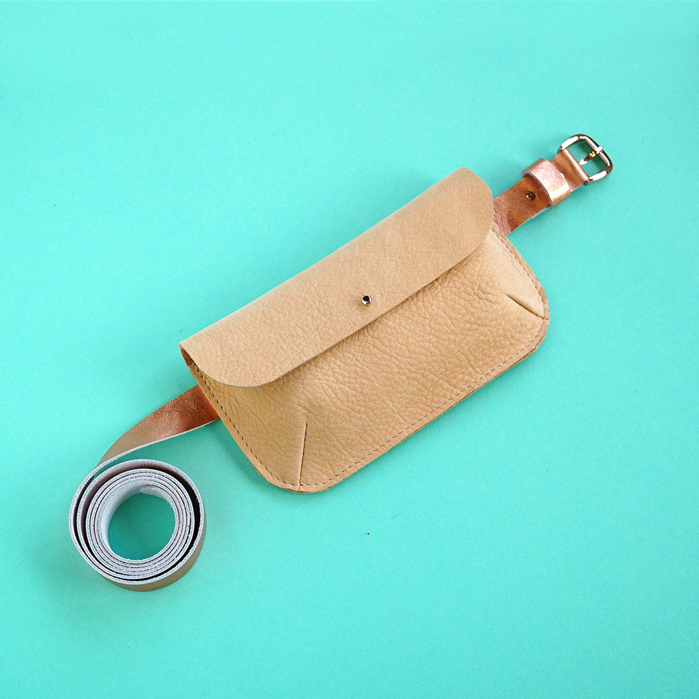 leather belt with bag nude