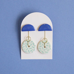 Renske Versluijs - earrings Orion kobalt-mintystripes