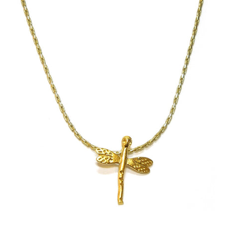 Gold plated delicate dragonfly insect pendant charm necklace