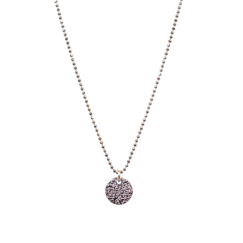 Single Drop Stardust Necklace in Silver with Fine Bobble Chain