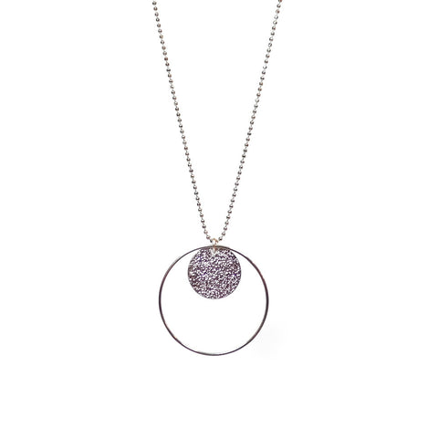 Long Stardust Disc Necklace in Silver
