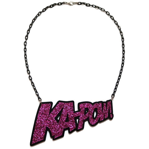 Purple Glitter Kapow Necklace