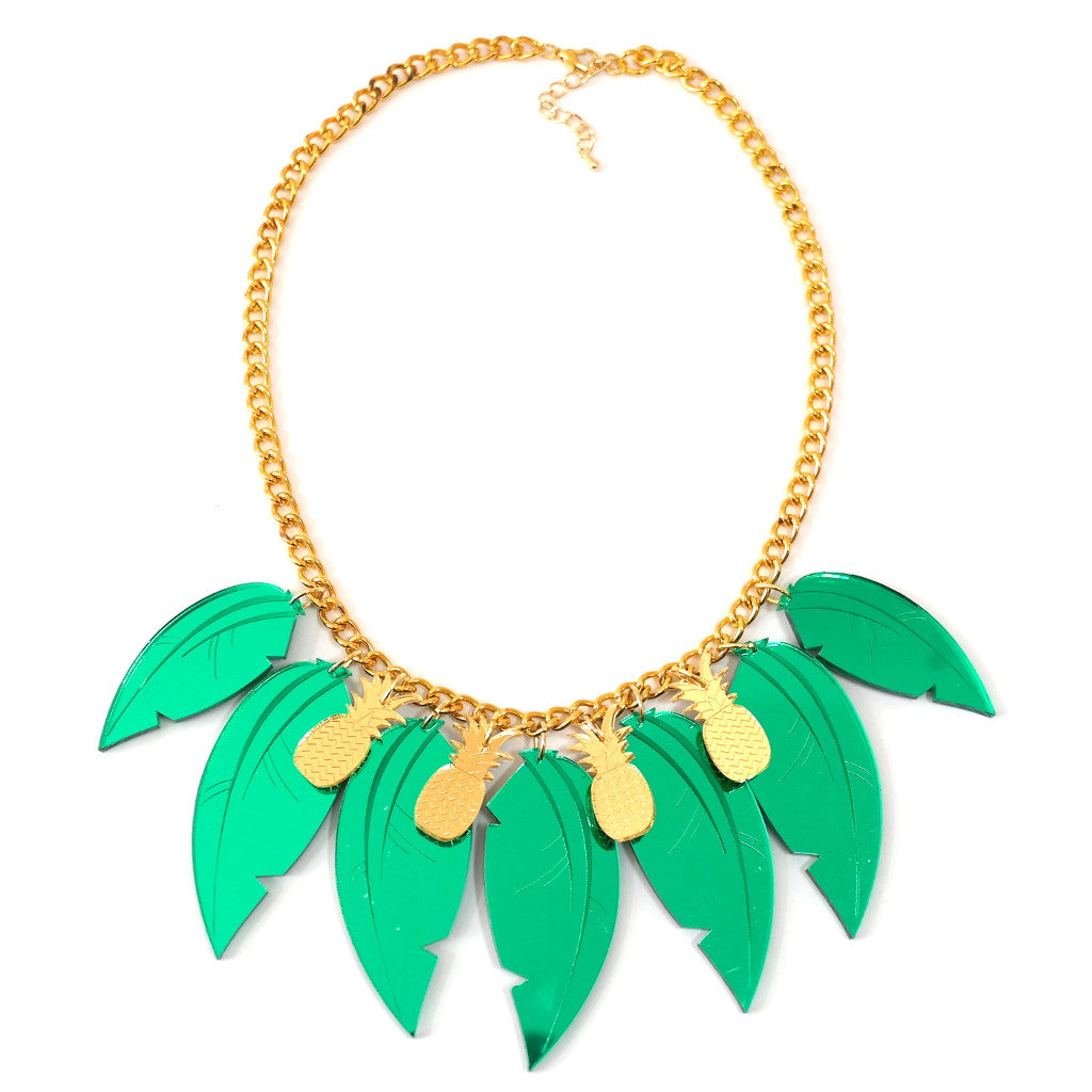 Gold Pineapple Tropical Leaf Necklace