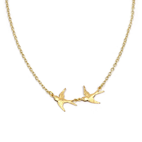 Brass Swallows on Gold Plated Chain Necklace