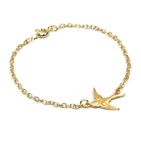 Brass Swallow on Gold Plated Chain Bracelet