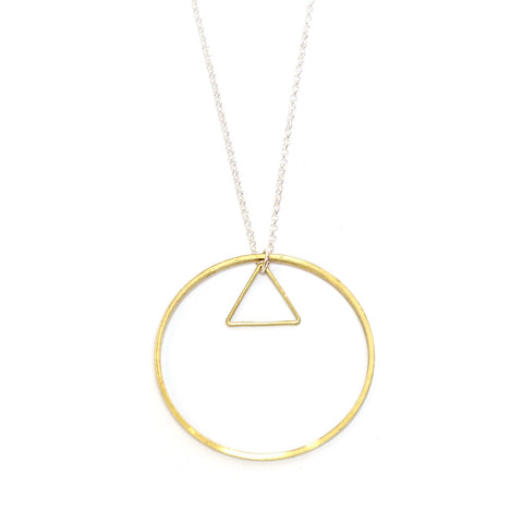 Brass Circle and Triangle Necklace