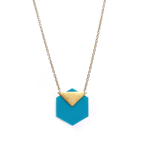 Acrylic Turquoise Hexagon and Brass Triangle Necklace