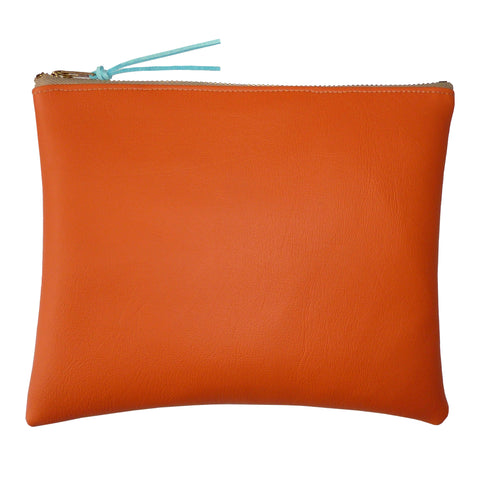 Bright Orange and Pink Leatherette Clutch Bag