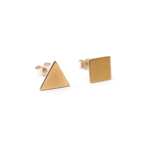 Square and Triangle Brass Stud Earrings