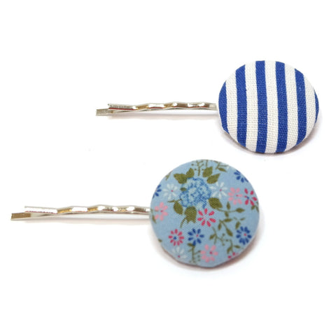 Navy Fleur Striped Button Hair Grips