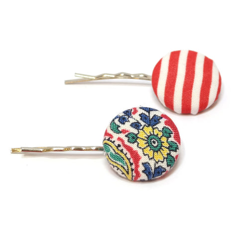 Red Fleur Striped Hair Clips