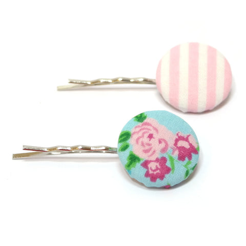 Pink Fleur Striped Hair Clips