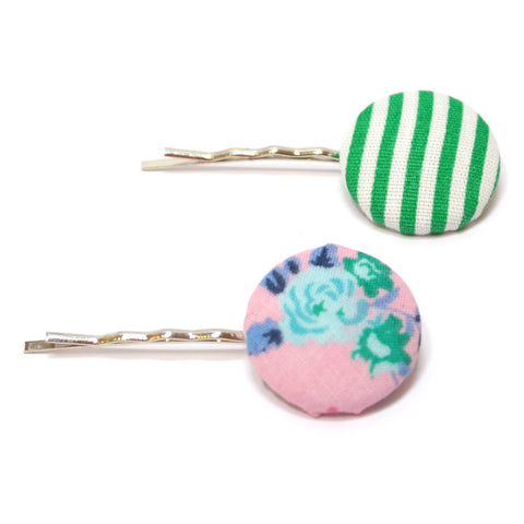 Green Fleur Striped Button Hair Grips