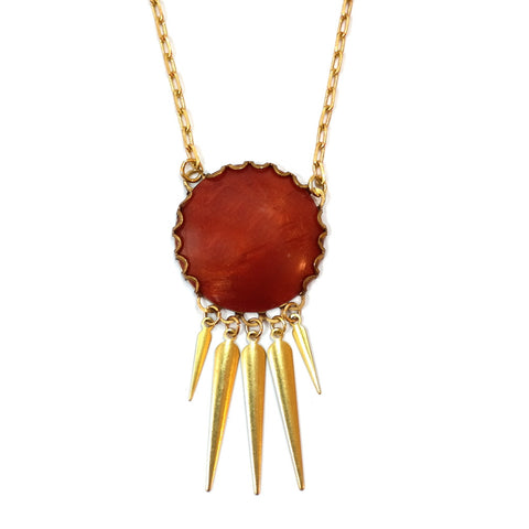 Vintage Sun Cabochon and Brass Helios Necklace