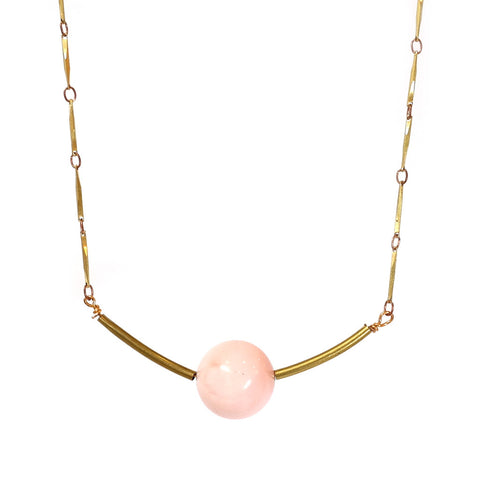 Pink Opal and Vintage Brass IO Sphere Necklace