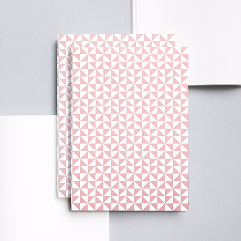 A5 notebook with light pink triangle pattern