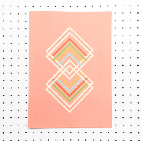 pastel pink abstract art print with geometric diamond shapes