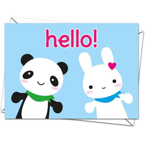 Hello Cute Kawaii Panda and Bunny Illustrated Blank Greeting Card