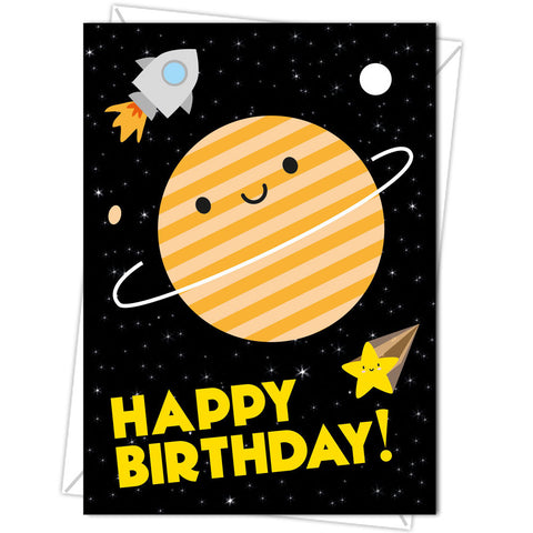 Happy Birthday Kawaii Happy Saturn and Rocket Planet Blank Greeting Card