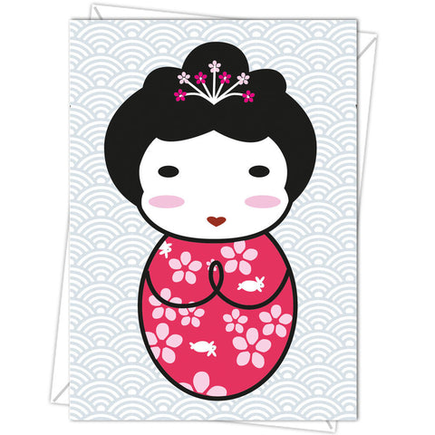 Japanese Kawaii Kokeshi Doll Card