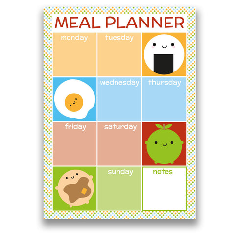 cute kawaii illustrated weekly magnetic food planner