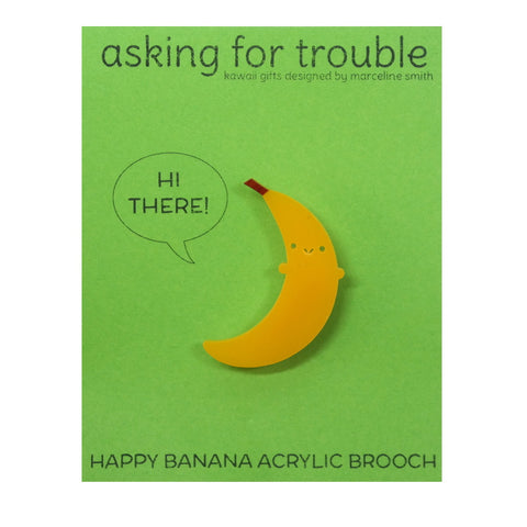 Kawaii Yellow Acrylic Banana Brooch