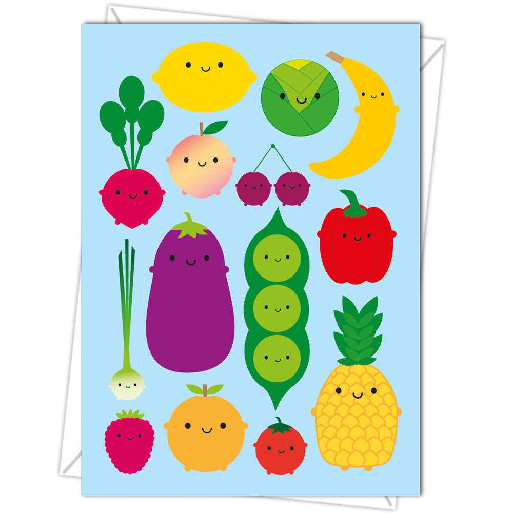Cute Kawaii Fruit and Vegetable 5 A Day Illustrated Blank Greeting Card