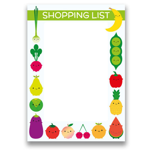 Fruit and Vegetable 5 A Day Magnetic Weekly Shopping List Notebook