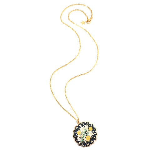 Flowers Always Necklace - Scallop Edged Enamel Pendant With Floral Bouquet Design - Black with Gold Chain