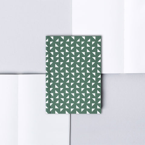 Small A6 pocket notebook with green and white geometric patterned cover