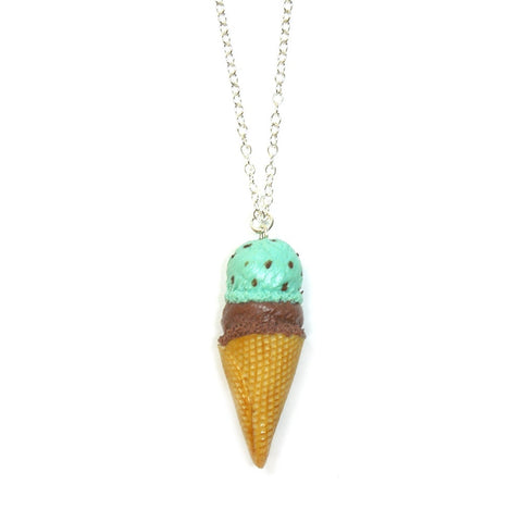 Double Scoop Mint Choc Chip Necklace