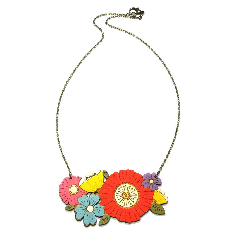 Lasercut Wooden Hand Painted Poppy Bouquet Floral Necklace