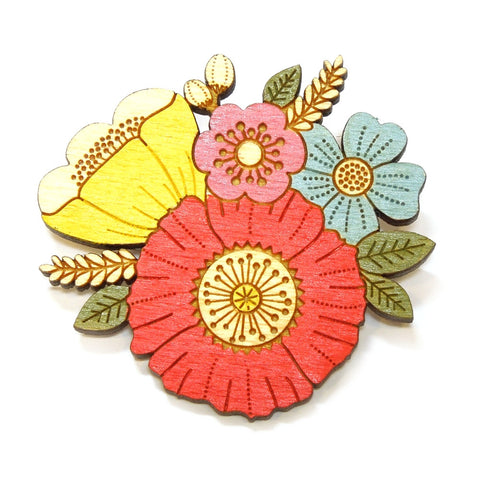 Lasercut Wooden Hand Painted Poppy Posy Floral Bouquet Brooch