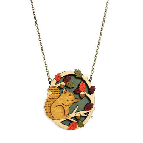 Lasercut Wooden Hand Painted Sitting Squirrel Necklace