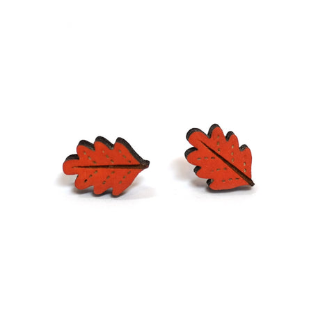 Lasercut Wooden Hand Painted Oak Leaf Stud Earrings