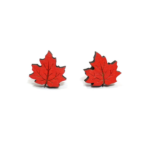 Lasercut Wooden Hand Painted Red Maple Leaf Stud Earrings